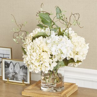 Faux Hydrangea With Vines In Vase