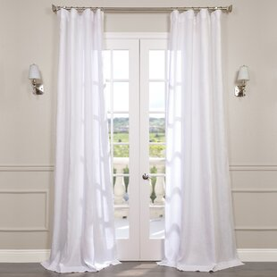 Pyrogi Solid Sheer Rod Pocket Single Curtain Panel by Beachcrest Home