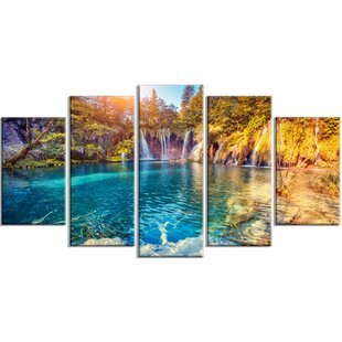 7cdfadf4cb1  Turquoise Water and Sunny Beams  5 Piece Wall Art on Wrapped Canvas Set