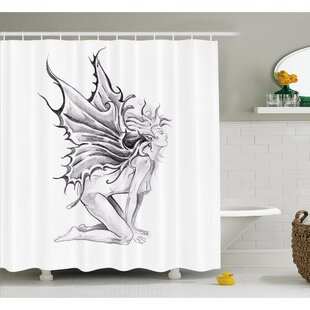 Tattoo Artistic Pencil Drawing Fairy Opening its Angel Wings Shower Curtain Set