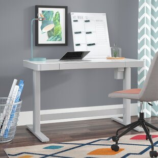 Belda Height Adjustable Glass Standing Desk by Comm Office 2019 Coupon