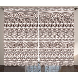 Toile Room Darkening Rod Pocket Curtain Panels (Set of 2) by East Urban Home