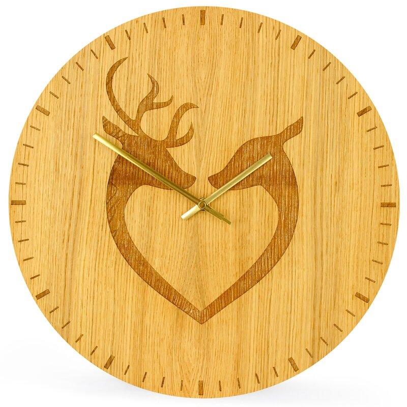 elabo analoge wanduhr deer couple 40 cm. Black Bedroom Furniture Sets. Home Design Ideas