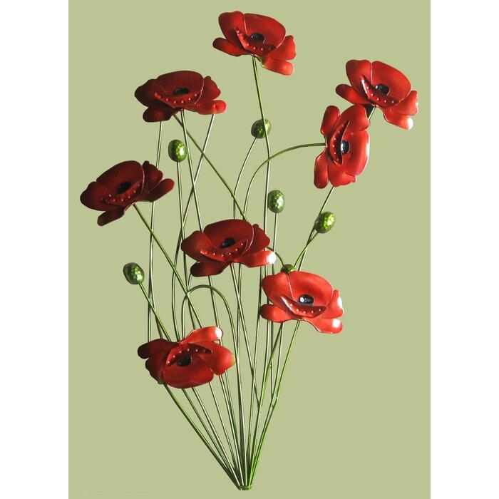 Comfortable Red Flower Metal Wall Decor Photos - Wall Art Design ...