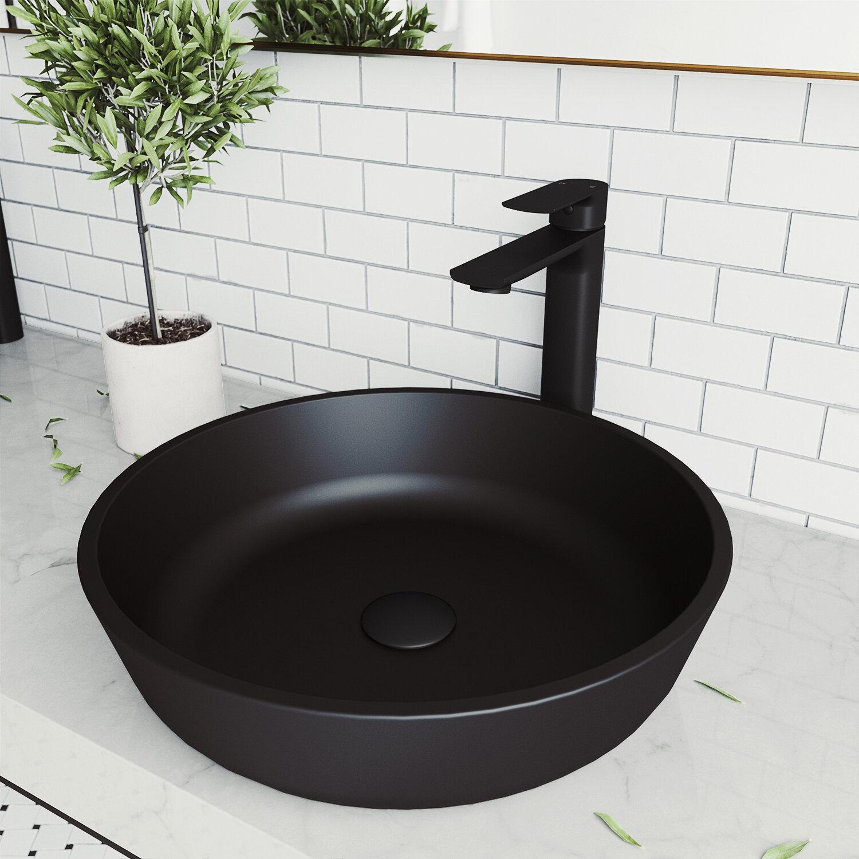 Vigo Matteshell Black Glass Handmade Circular Vessel Bathroom Sink Reviews Wayfair
