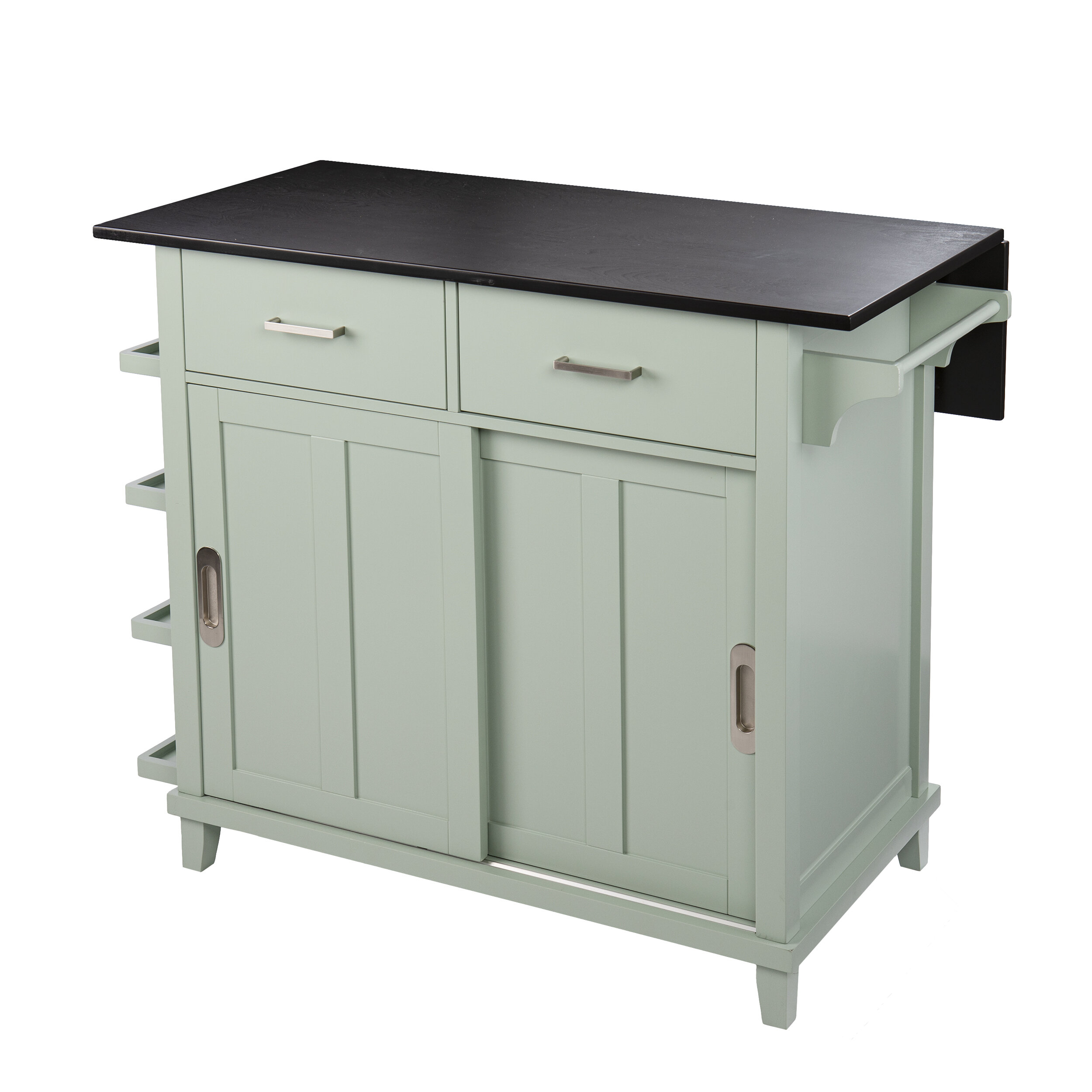 Picture of: Longshore Tides Ollerton Freestanding Kitchen Island Mint Green And Black Reviews