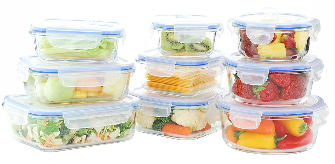 Go Green Gl Lock Elements Oven Safe 9 Container Food Storage Set