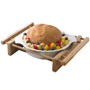 Bamboo and Stoneware Grand Buffet Pie Pan Bakeware Dish with Bamboo Cradle