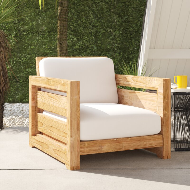 Drumheller Club Teak Patio Chair With Cushions Allmodern