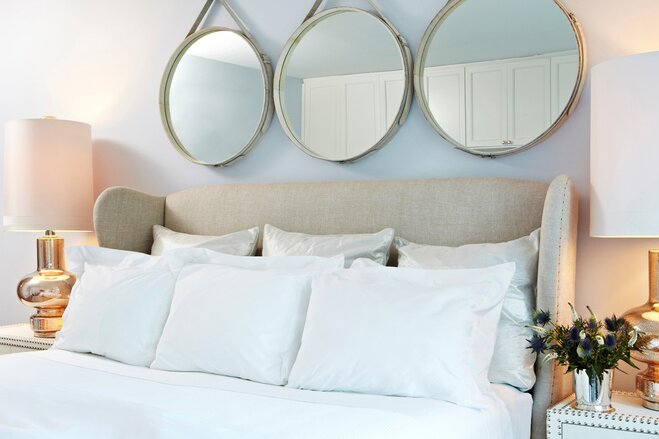 4 fixes for the blank space above your bed wayfair - Above the headboard decorating ...