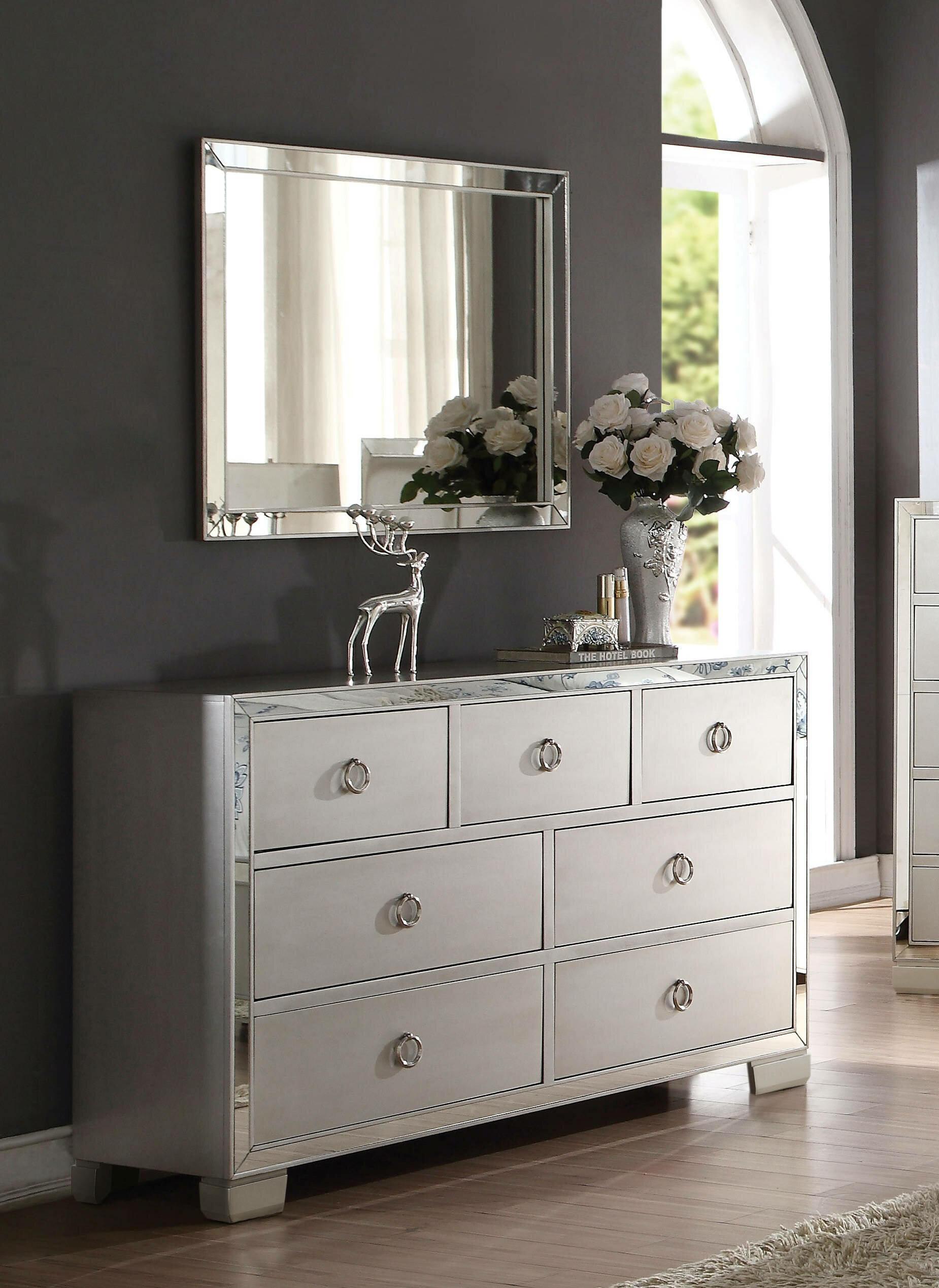 Rosdorf Park Cangelosi 7 Drawer Dresser With Mirror Reviews Wayfair