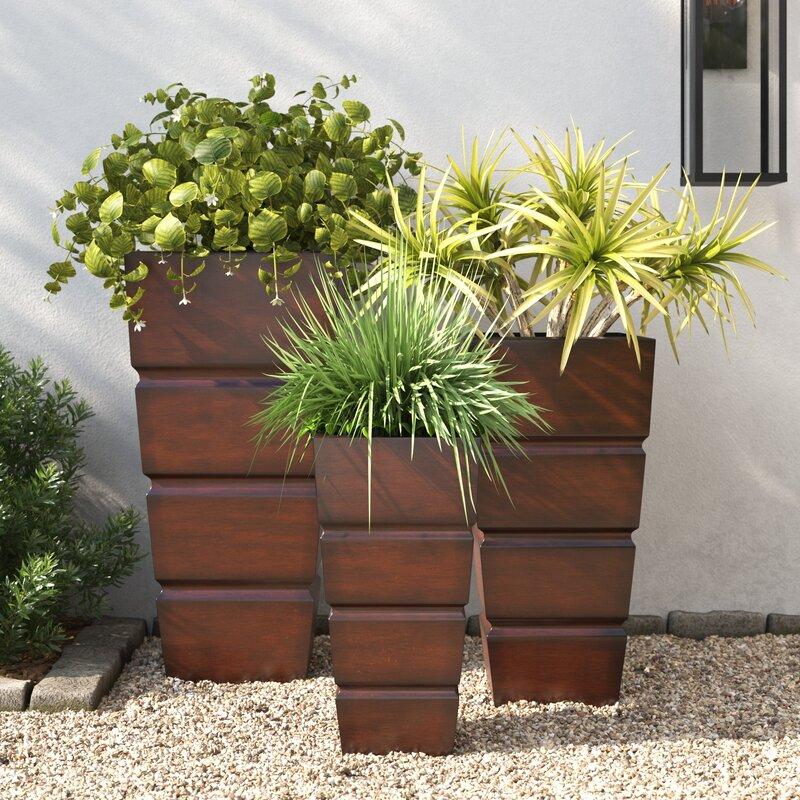 Joss Main Montijo 3 Piece Metal Pot Planter Set Reviews Wayfair