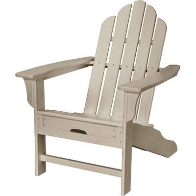 Galaz All-Weather Contoured Plastic Adirondack Chair with Ottoman August Grove Color: SandyShore
