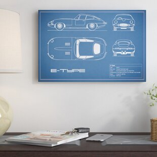 'Jaguar E-Type Series 1 Coupe' Graphic Art Print on Canvas in Blue ByEast Urban Home