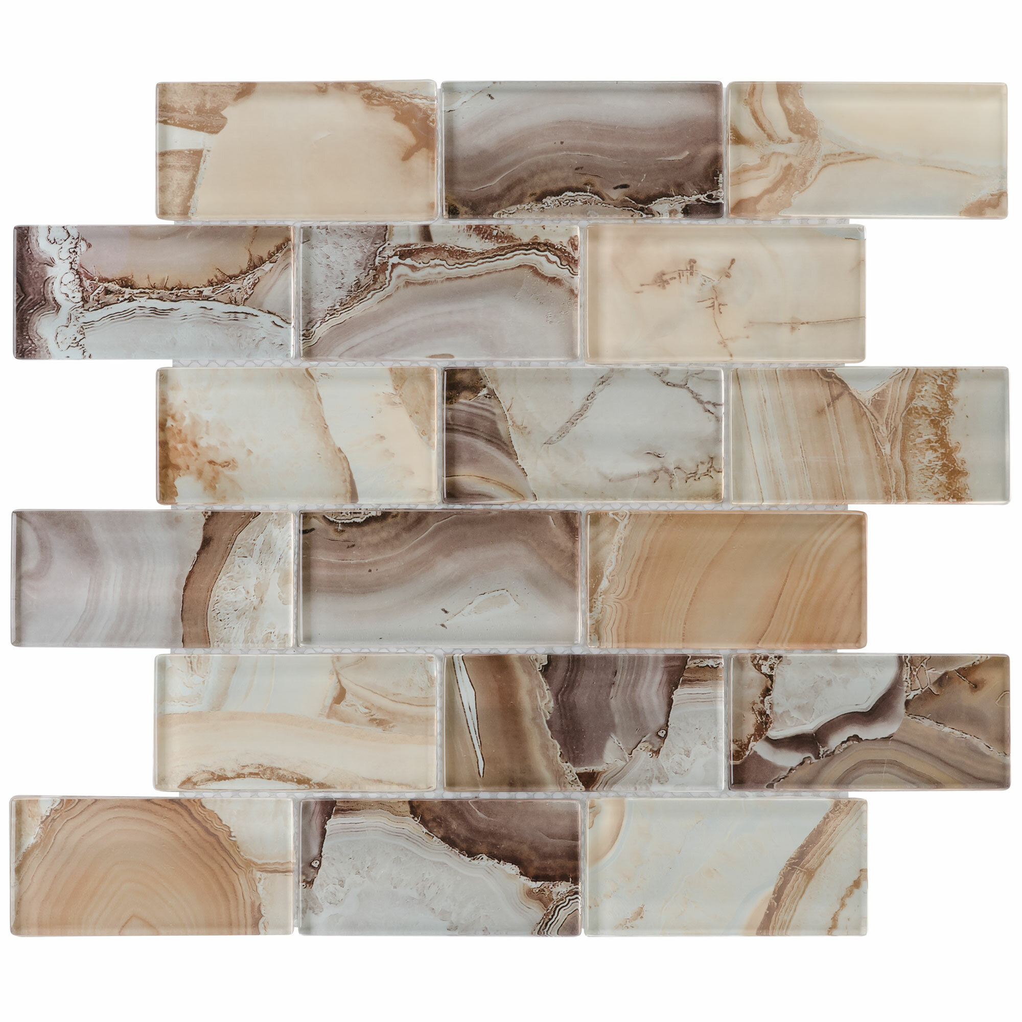 Mosaictileoutlet Linear Foil 2 X 4 Glass Mosaic Tile In Glossy Brown Reviews Wayfair