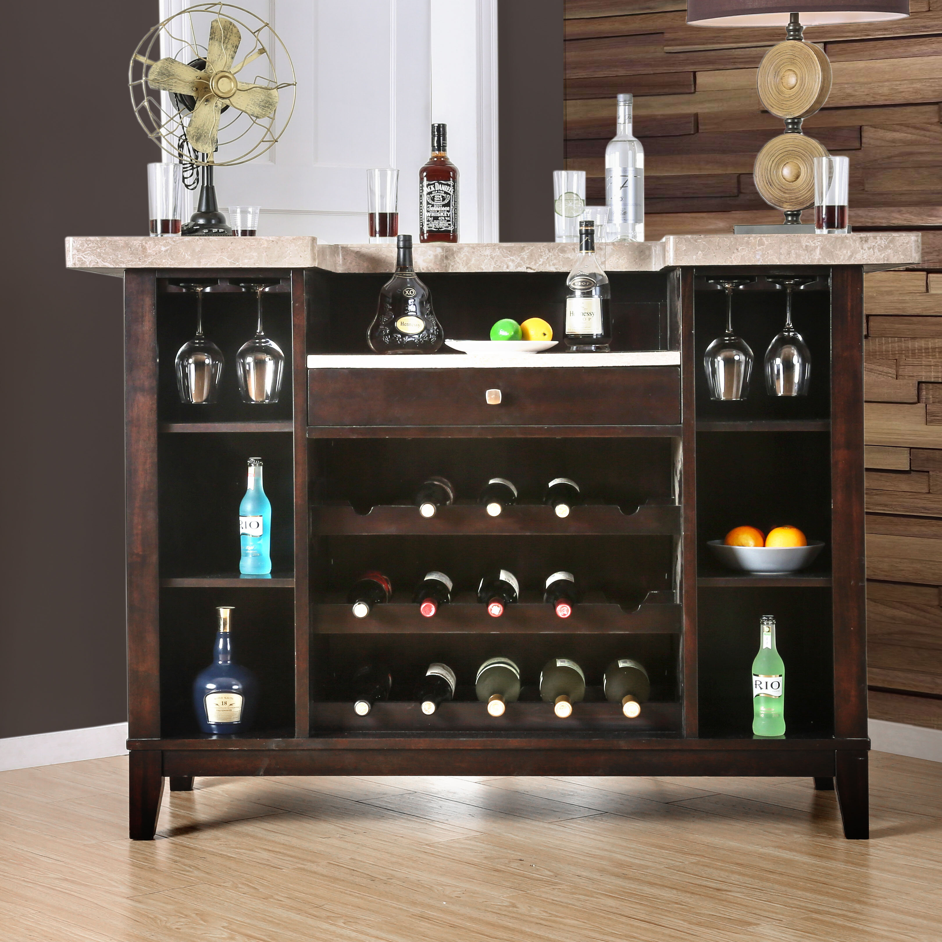 Darby Home Co D Amato Bar Table With Wine Storage Wayfair