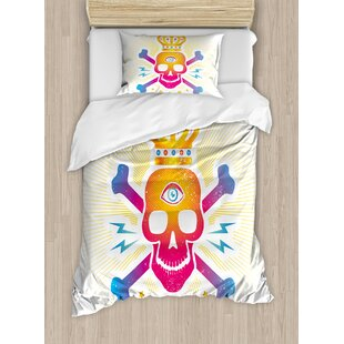Digital Print Skull With Crown And Bones Abstract Stars Design Duvet Cover Set