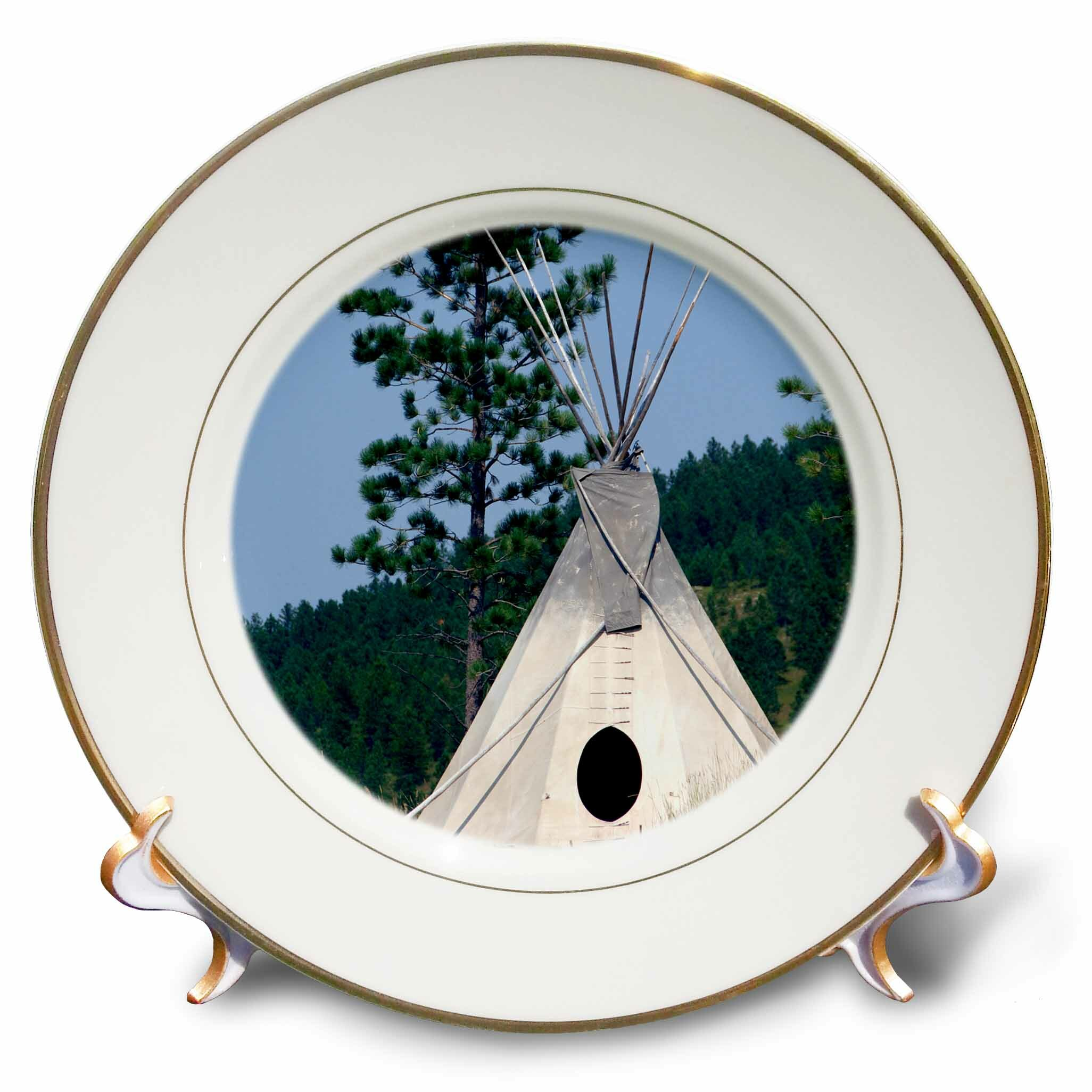 East Urban Home Sd Lakota Indian Teepee Native American Cindy Miller Hopkins Porcelain Decorative Plate Wayfair