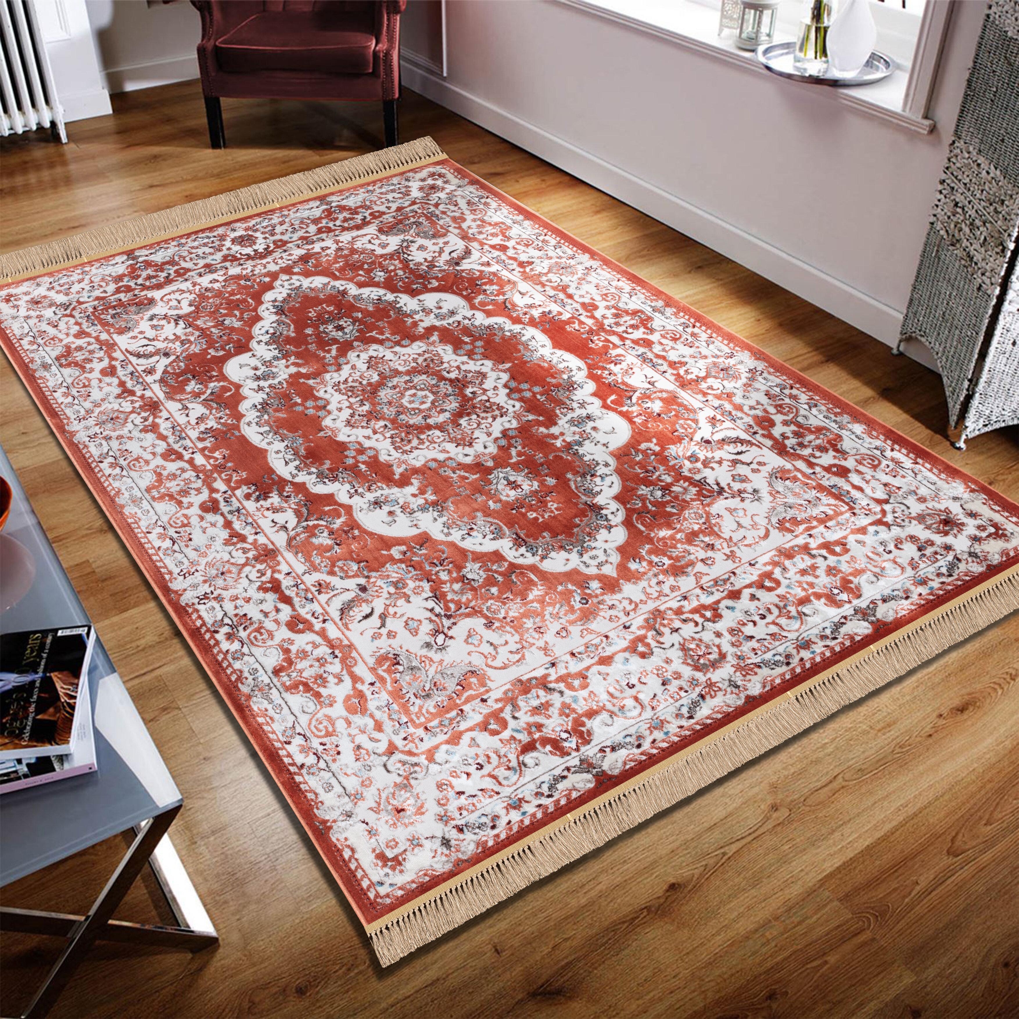 Tapis Salon Couleur Rouille tapis rouille/ivoire traditionnel oriental à franges throggs