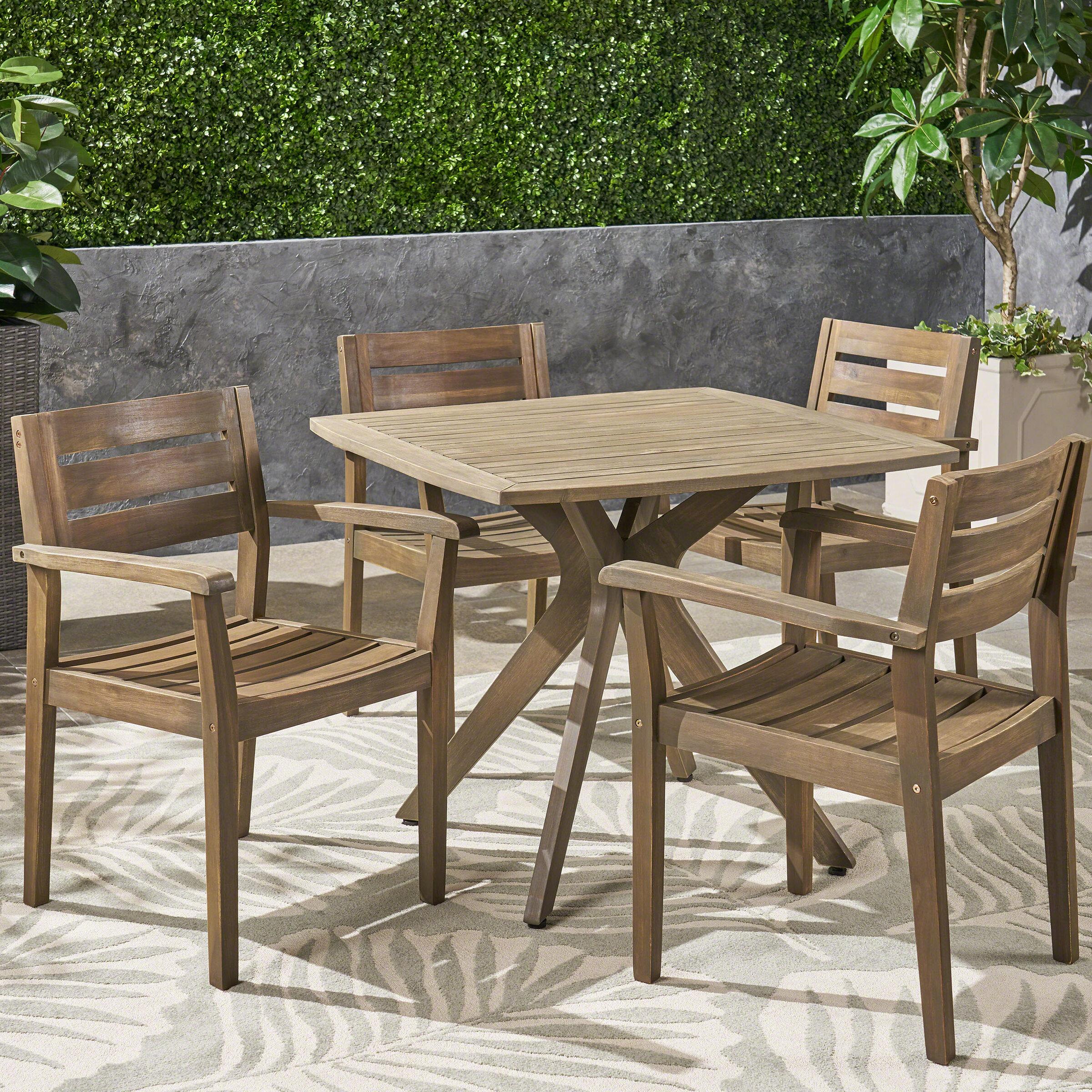 Brilliant Ramage Outdoor Acacia Wood 5 Piece Dining Set Lamtechconsult Wood Chair Design Ideas Lamtechconsultcom