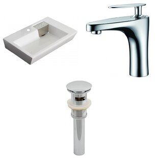 Find for Ceramic Rectangular Vessel Bathroom Sink with Faucet and Overflow By American Imaginations