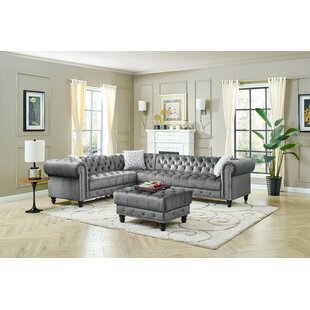 Troy 115 Velvet Right Hand Facing Corner Sectional with Ottoman by House of Hampton