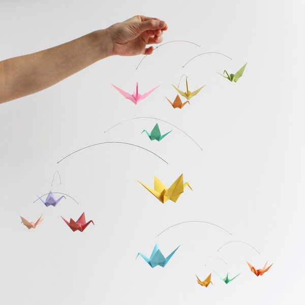 Origami mobile baby, Spiral crane mobile, birds, green, yellow ... | 600x600