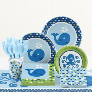 81 Piece Ocean Preppy Birthday Tableware Set
