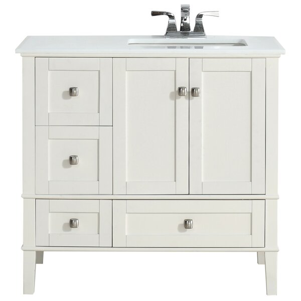 Simpli Home Chelsea Right Offset 37 Single Bathroom Vanity Set