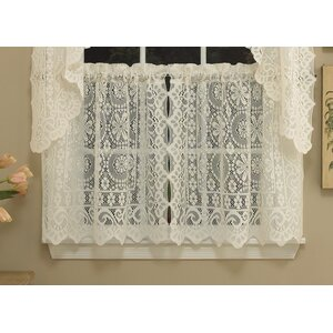 Old World Style Floral Heavy Lace Kitchen Tier Curtain (Set of 2)