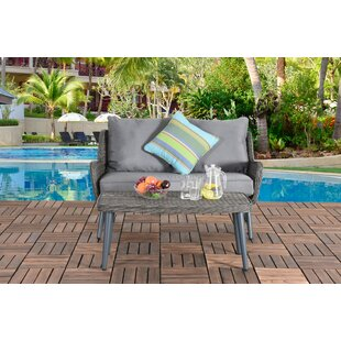 Mart Patio 2 Piece Rattan Sofa Seating Group with Cushion