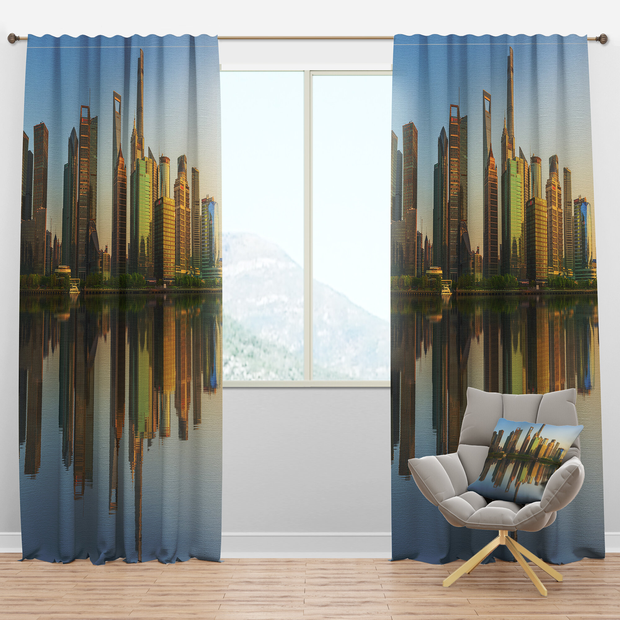 Designart Cityscape Shanghai Huangpu River At Sunset Semi Sheer Thermal Rod Pocket Single Curtain Panel Wayfair