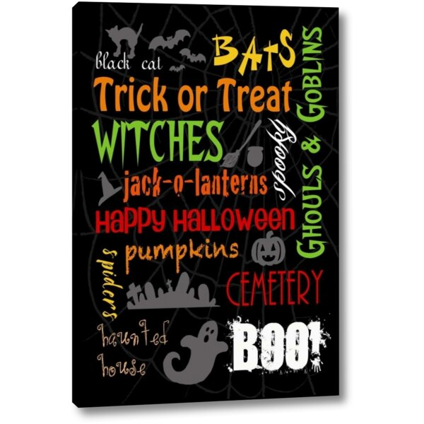 'Halloween Typography' by Anna Quach Giclee Art Print on Wrapped Canvas