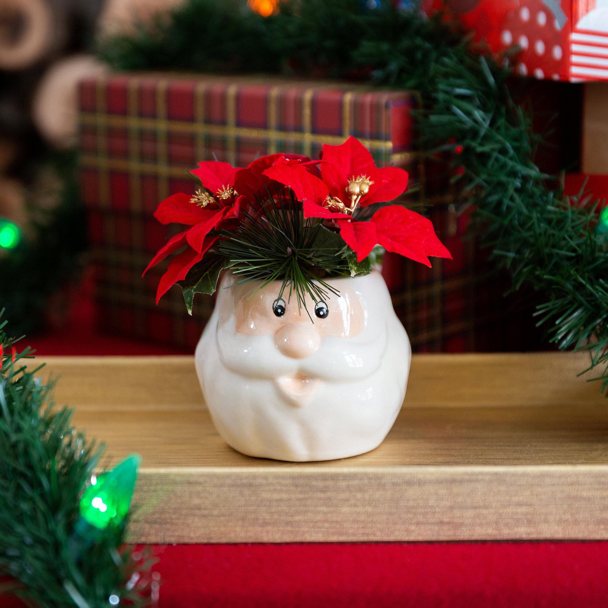 The Holiday Aisle Poinsettias Floral Arrangement In Ceramic Santa Pot Reviews Wayfair