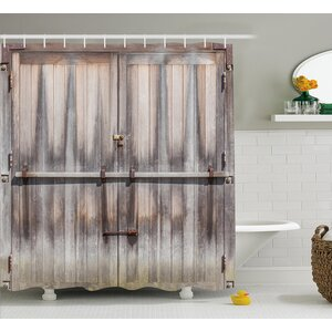 Retro Wooden Oak Country Gate Shower Curtain