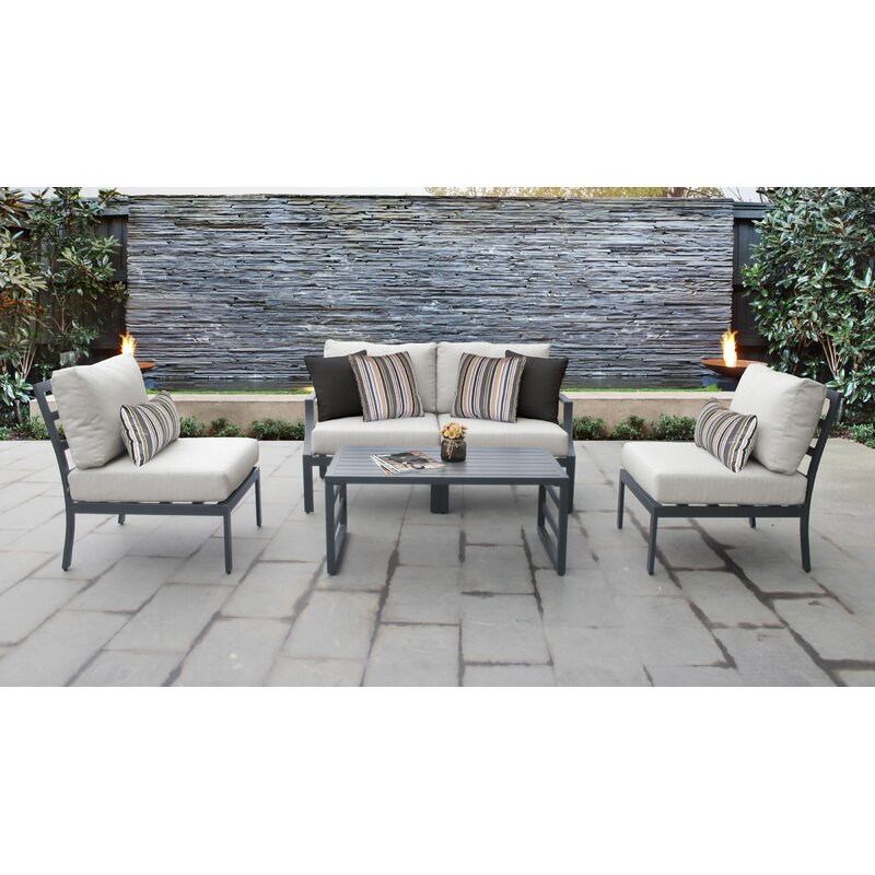 Ivy Bronx Benner Outdoor Aluminum 5 Piece Sectional Seating Group With Cushion Wayfair