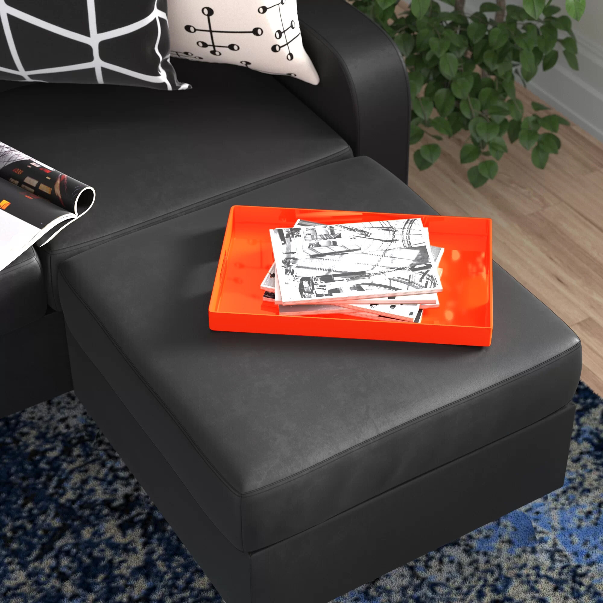 Orange Ottoman Coffee Table Decorative Trays You Ll Love In 2021 Wayfair