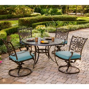 Barrowman 5 Piece Metal Dining Set with Cushions