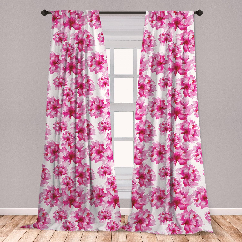 East Urban Home Watercolor Floral Room Darkening Rod Pocket Curtain Panels Wayfair