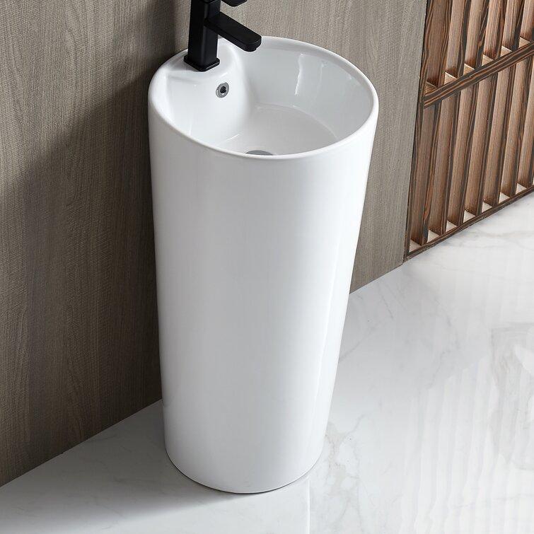 Eridanus 32 48 Tall White Ceramic Circular Pedestal Bathroom Sink With Overflow Wayfair
