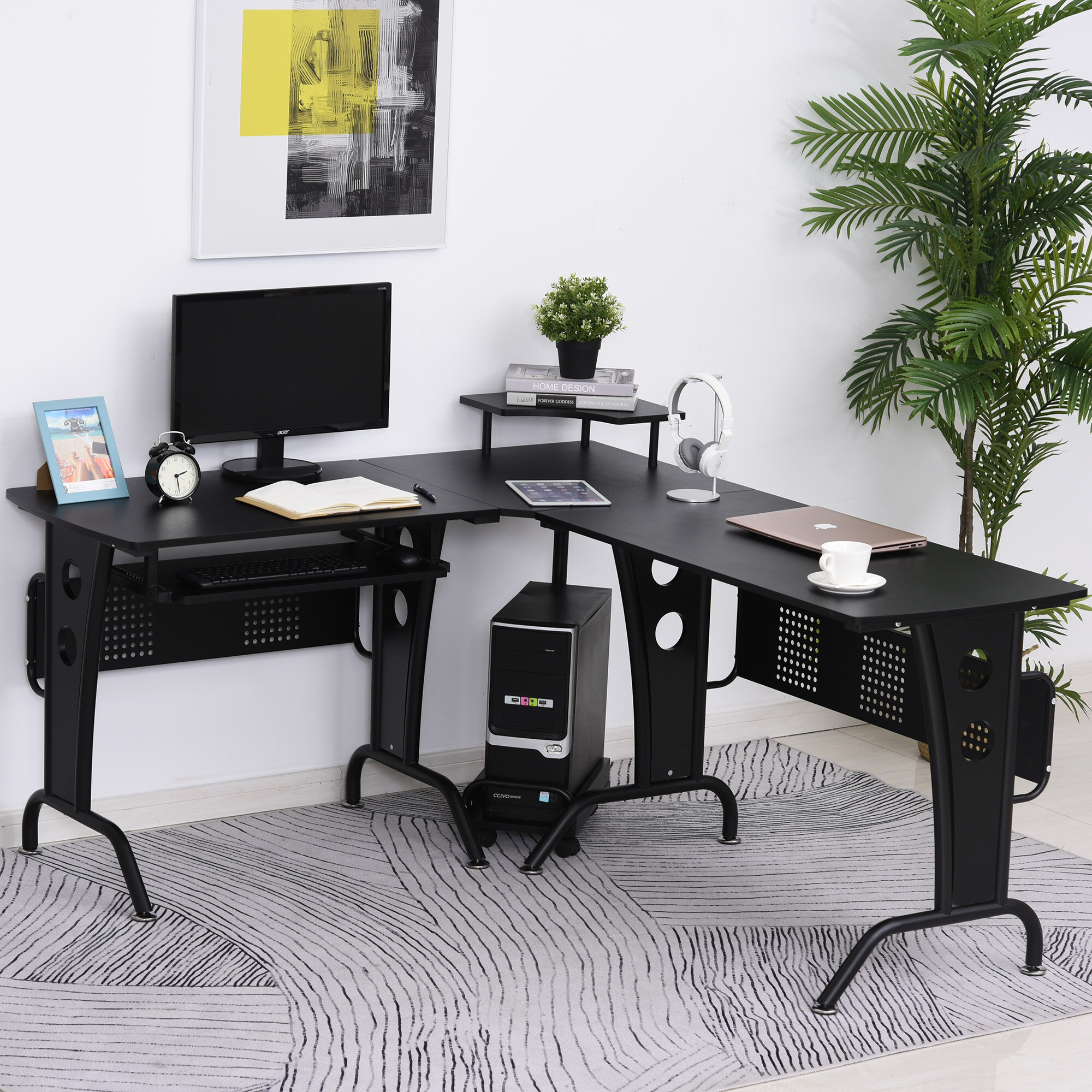 Inbox Zero L Shaped Corner Computer Office Desk Workstation With Rolling Keyboard Tray Convenient Cpu Stand Brown Wayfair