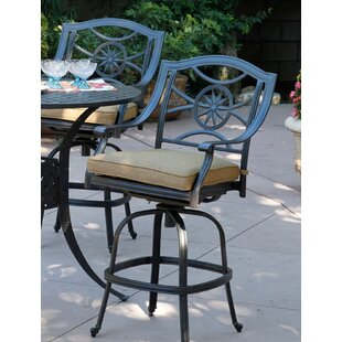 Lenzburg Patio Swivel Bar Stool with Cushion (Set of 6) (Set of 6)
