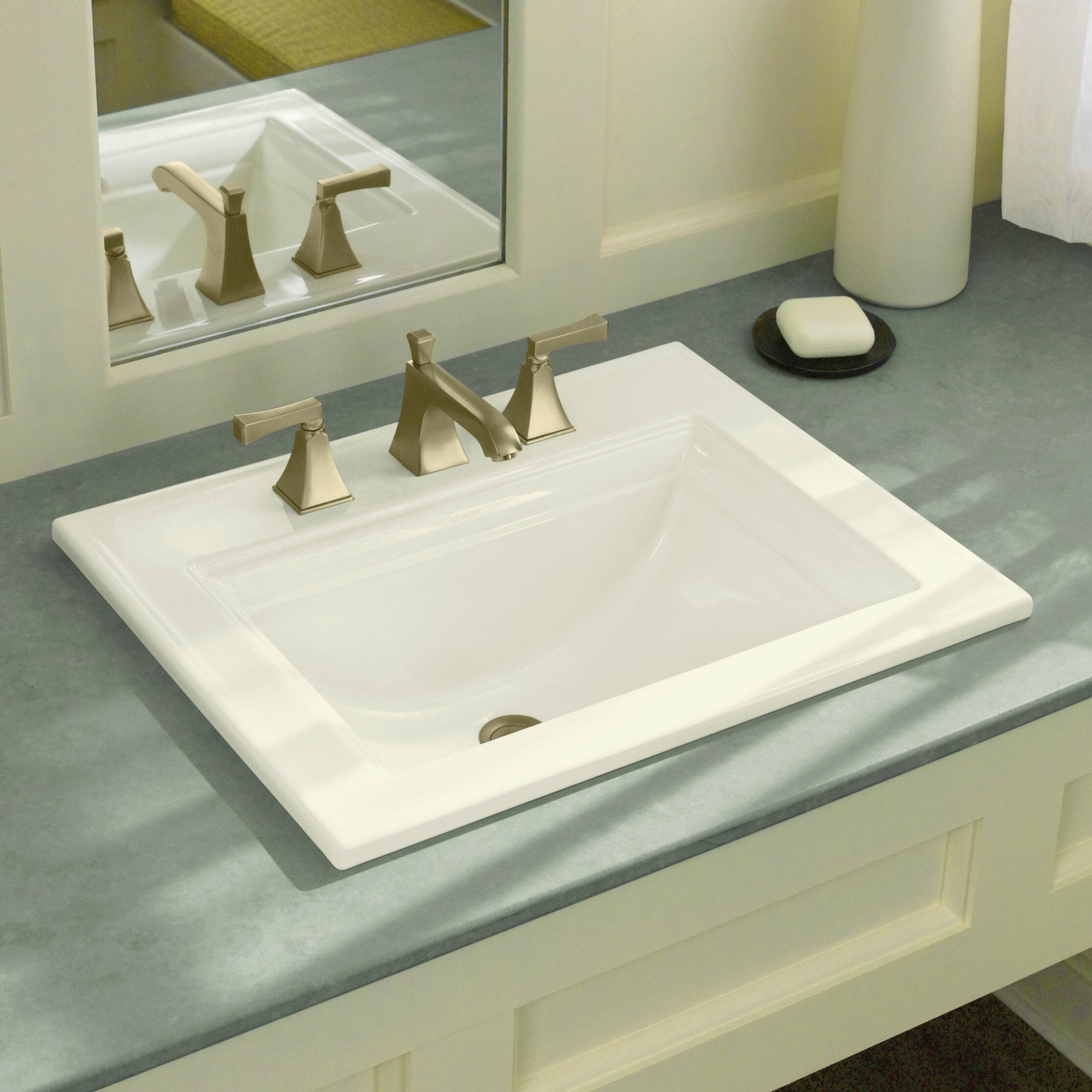 Drop In Bathroom Sink Installation. K  Kohler Memoirs Ceramic Rectangular Drop In Bathroom Sink With Overflow Reviews Wayfair