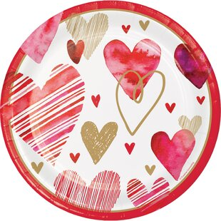 Holl Hearts Paper Disposable Dessert Plate (Set of 24)