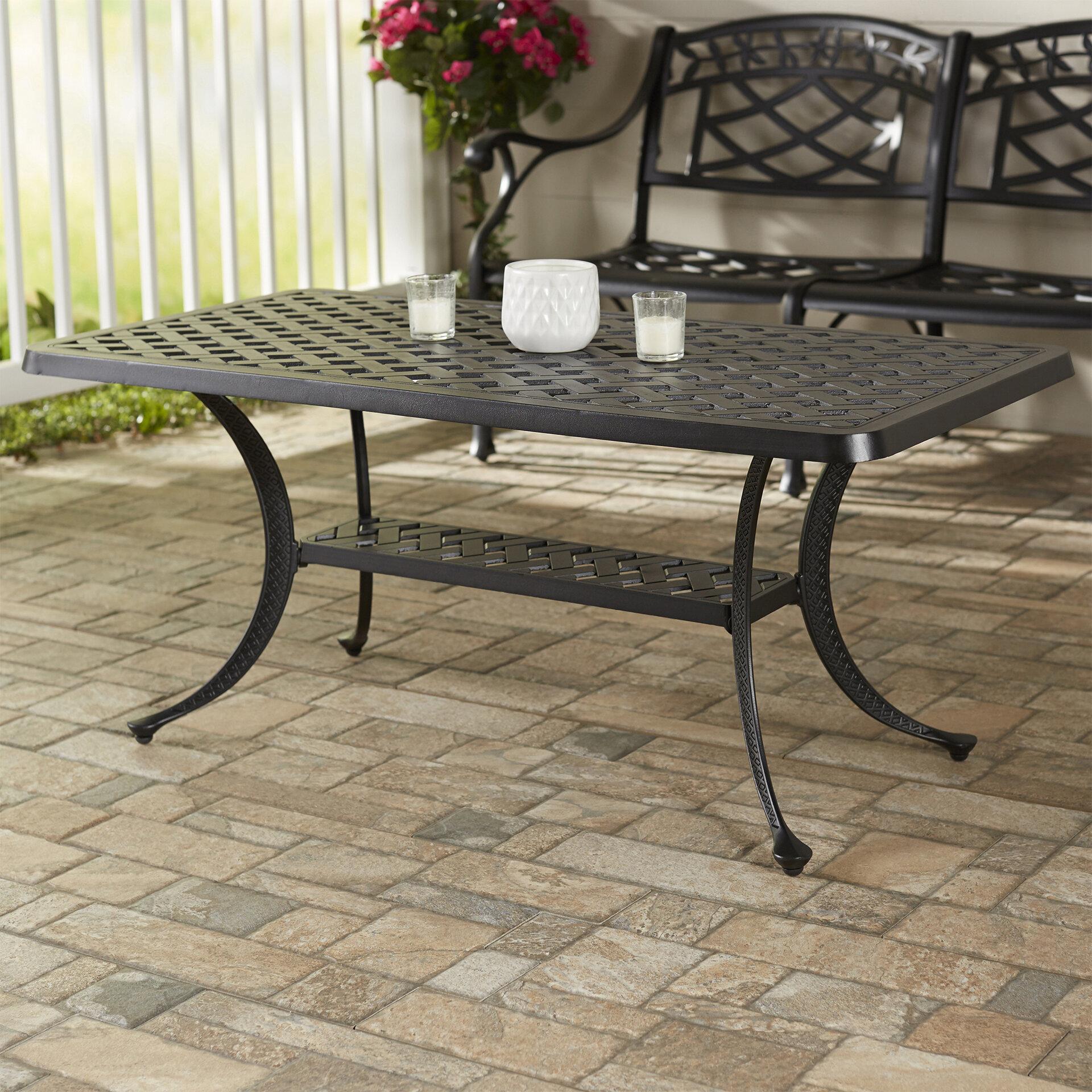 Darby Home Co Lomax Cast Aluminum Rectangular Coffee Table Reviews Wayfair
