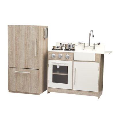 Dollhouse Furniture Kitchen Set 3 Pc Oak Refrigerator Sink Stove NEW