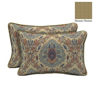 Tivoli Damask Outdoor Lumbar Pillow (Set of 2)