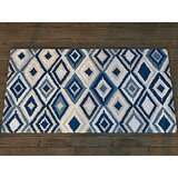 Enfield Geometric Handmade Looped/Hooked Beige/Navy Indoor/Outdoor Area Rug