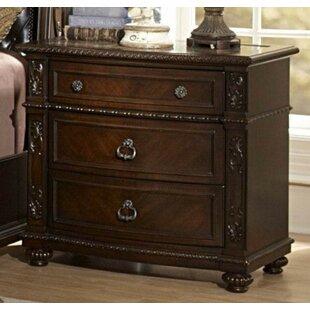 Best Price Muniz Wooden 3 Drawer Nightstand by Astoria Grand