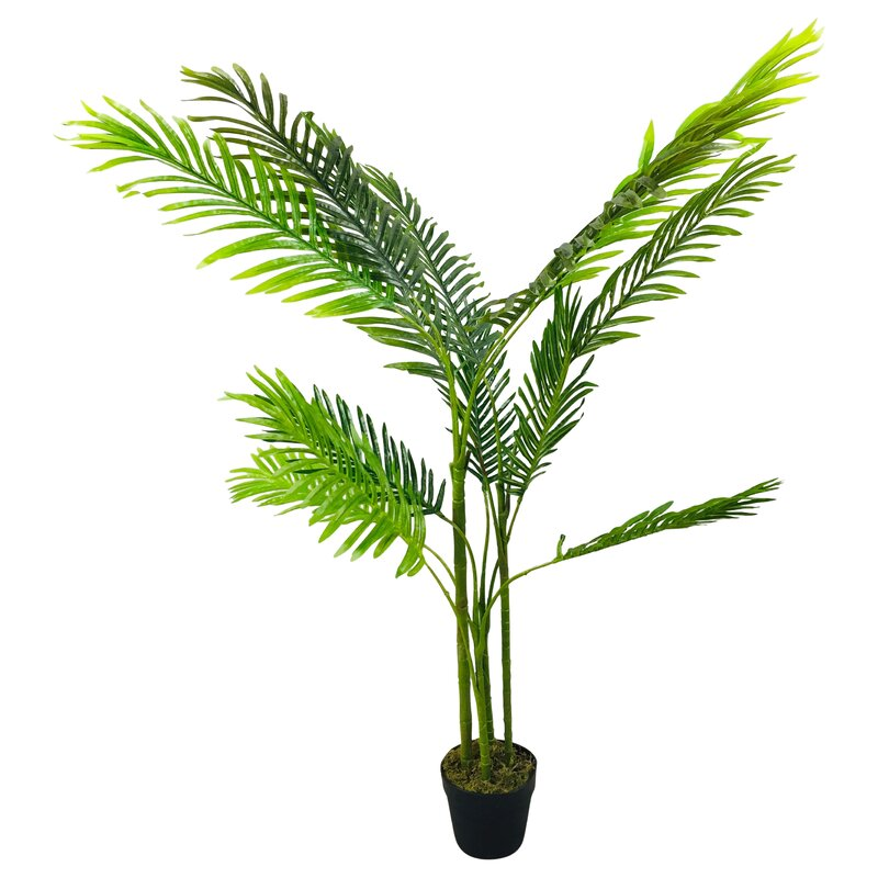 The Seasonal Aisle Artificial Floor Palm Tree In Pot Wayfair Co Uk